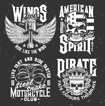 オートバイクラブのアパレルデザイン用の翼のあるエンジンバルブ、頭蓋骨、コブラのベクトルマスコットを使用したtシャツプリント。バイカーチーム用のモノクロtシャツプリントまたはエンブレム、タイポグラフィセット付きの孤立したラベル