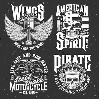 Tshirt prints with winged engine valves, skulls and cobra vector mascots for motorcycle club apparel design. monochrome t shirt prints or emblems for biker team, isolated labels with typography set