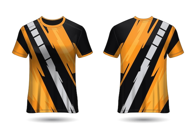 Tshirt sport design racing jersey for club uniform front and back view
