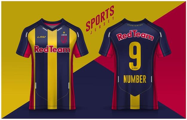 Tshirt 스포츠 디자인 템플릿 축구 클럽 유니폼 전면 및 후면보기를위한 축구 유니폼