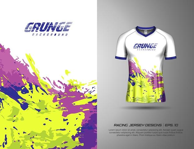 레이싱 저지 사이클링 축구 게임을 위한 티셔츠 스포츠 그런지 페인트 스플래시 디자인