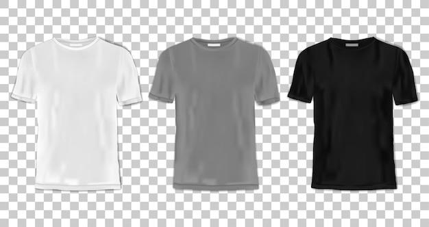 Tshirt template set black gray and white shirts for branding textile print mock ups and logo