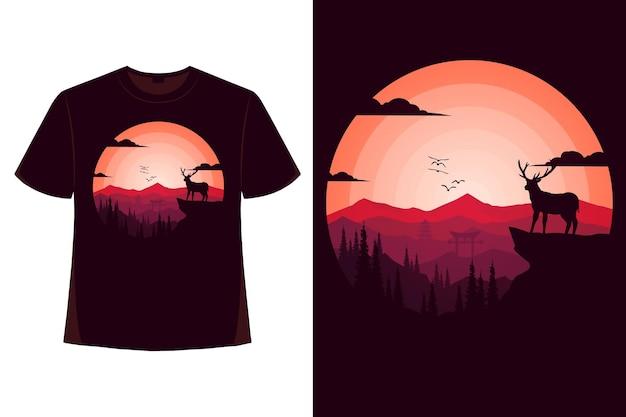 Tshirt tropical summer mountain deer pine nature vintage color flat illustration