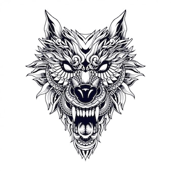 狼の民族のイラストやtshirtデザイン
