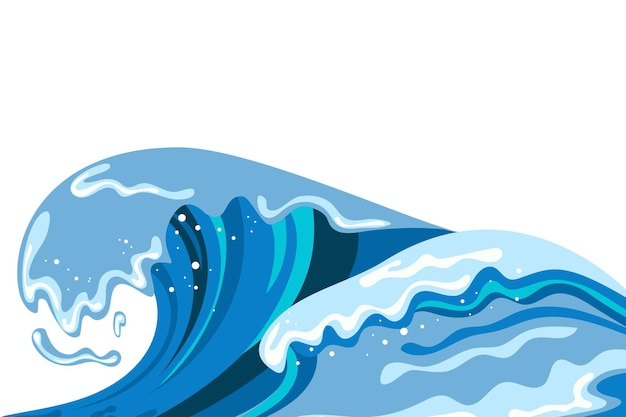Tsumani wave background in flat cartoon style. big blue tropical water splash with white foam. vector illustration