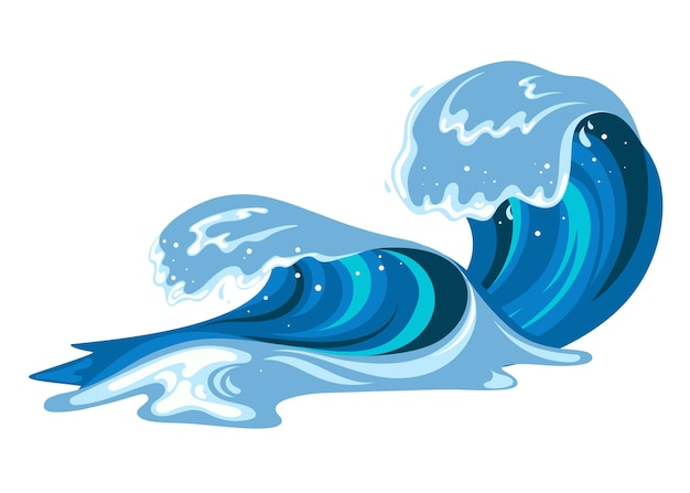 Tsumani wave in flat cartoon style. big blue tropical water splash with white foam. vector illustration isolated in white background