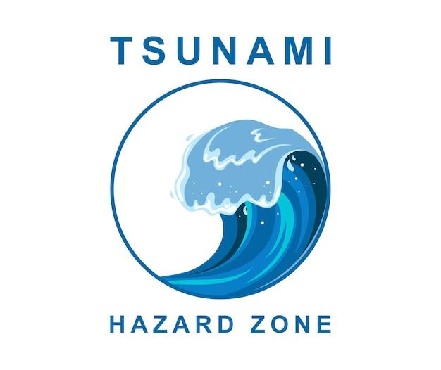 Tsumani wave with white foam in flat cartoon style. hazard zone sign. vector illustration