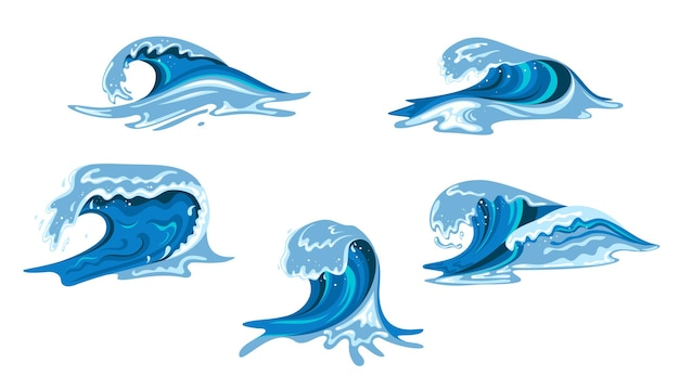 Tsumani waves set in flat cartoon style. big blue tropical water splashes with white foam. vector illustration isolated in white background