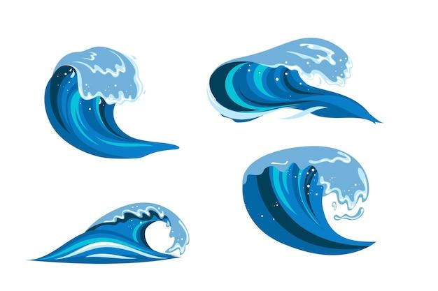 Tsumani 파도 플랫 만화 스타일로 설정합니다. 큰 파란색 열 대 물 밝아진 흰색 거품. 벡터 일러스트 레이 션 흰색 배경에서 격리