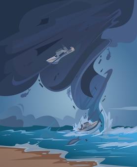 Иллюстрация цунами и торнадо