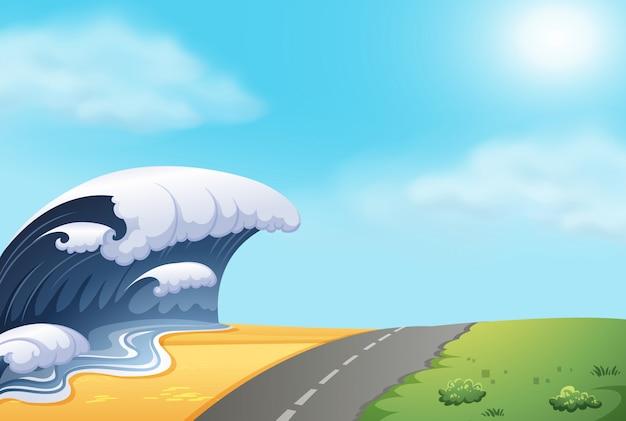 A tsunami hit the coast