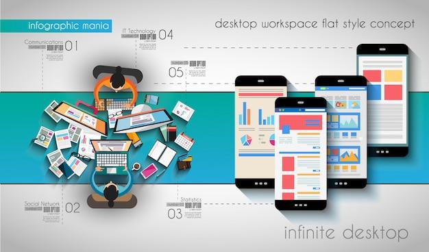 Инфографики шаблон с плоскими иконками интерфейса для рейтинга ttem