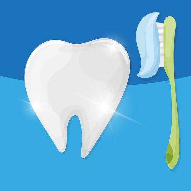 歯ブラシと歯磨き粉で歯。ベクトル漫画スタイルのイラスト。孤立した青い背景。明確な歯の概念。歯磨き。歯科キッズケア
