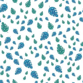 Тропические листья монстеры бесшовные модели повторений. экзотическое растение векторная иллюстрация. летний дизайн для ткани, текстильный принт, оберточная бумага, детский текстиль.