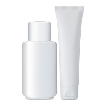 Tube and cosmetic bottle set белая банка