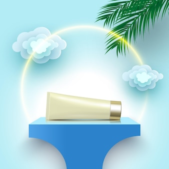 Tube of cream on blue podium cosmetic products display platform with palm leaves and clouds