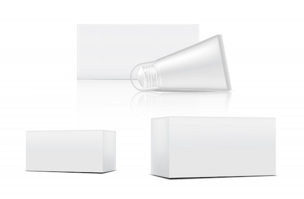 Tube mock up realistic cosmetic and box 3 side for skincare merchandise on isolated white background illustration. health care and medical concept design.