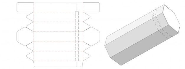 Tube shaped packaging box die cut template design