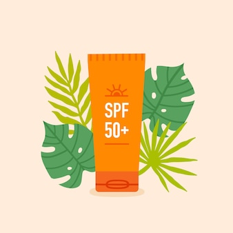 Tube of sunscreen lotion with tropical leaves around illustration