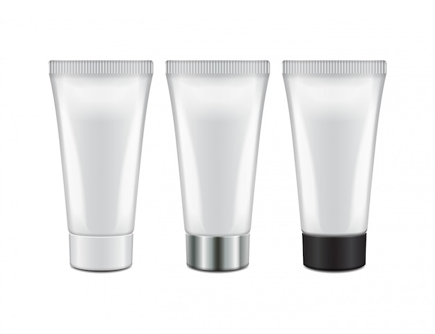 Tube with different color caps- cream, gel, skin care, toothpaste. ready for your . packaging  template