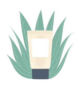 栄養のあるアロエベラクリームが入ったチューブ。保湿フェイシャルスキンケア製品