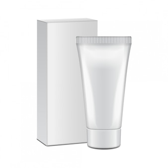 Тюбик с белой коробкой - крем, гель, уход за кожей, зубная паста. готов для вашего дизайна. шаблон упаковки