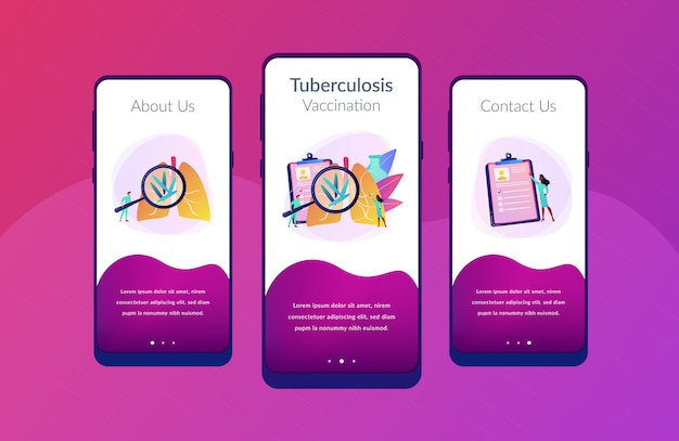 Tuberculosis app interface template.