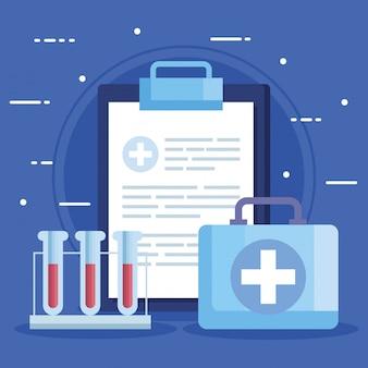 Test di provette con appunti e kit di pronto soccorso