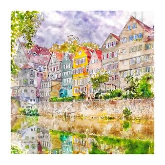 Tubingen 독일 수채화 스케치 손으로 그린 그림