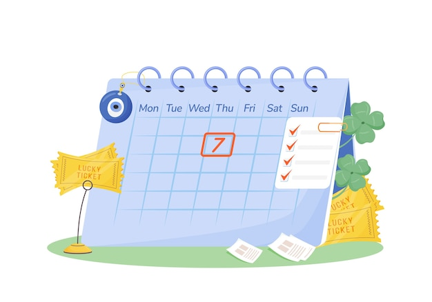 火曜日7フラットコンセプト。ウェブデザインのための幸運のチケットとお守りの2d漫画の構成とカレンダー。迷信、幸運な日の創造的なアイデア。幸運のシンボル
