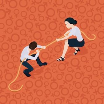 綱引き。男女の戦い。女に対する男