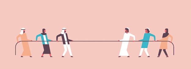 Tug of war arabic people team pulling opposite ends of rope