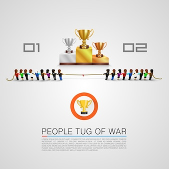 Tug of war for the award. vector illustration