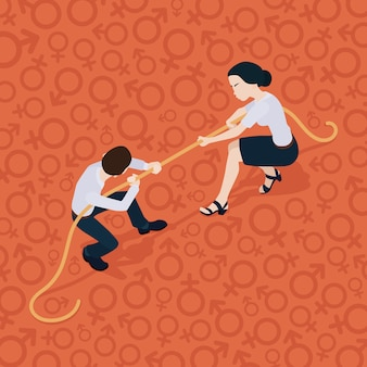 Tug of war. battle of the sexes. man against woman