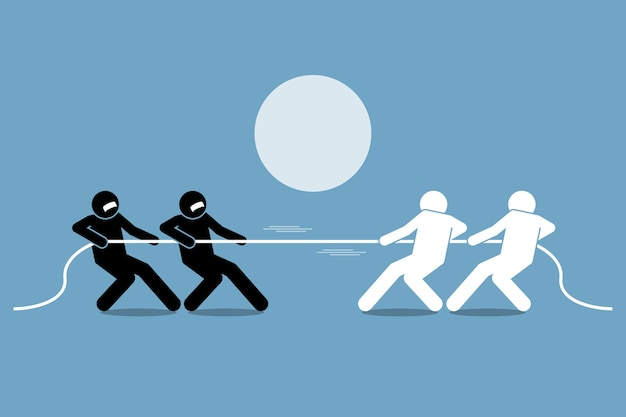 Tug of war. concept of power struggle, competition, and opposition.