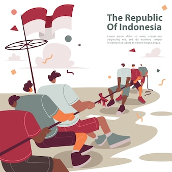 Tug of war in indonesian independence day