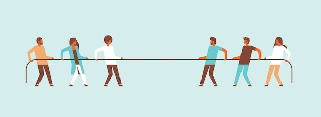 Tug of war people team pulling opposite ends of rope against each other cartoon character man woman banner flat
