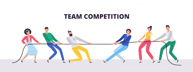 Tug of war. people teams pull the rope, office workers compete and rope pulling competition   illustration
