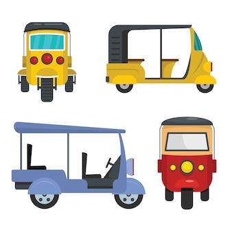 Tuk rickshaw thailand icons set flat style