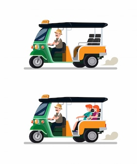 Tuk tuk rickshaw traditional transportation from thailand with driver and tourist couple icon set. cartoon flat vector illustration