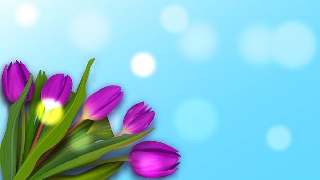 春のバナーにチューリップの花束。