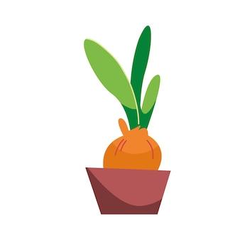ポットのチューリップ球根春のガーデニング漫画スタイルのベクトルイラスト孤立したクリップアート
