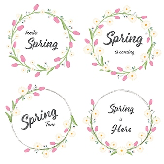 Tulip and daisy spring wreath collection