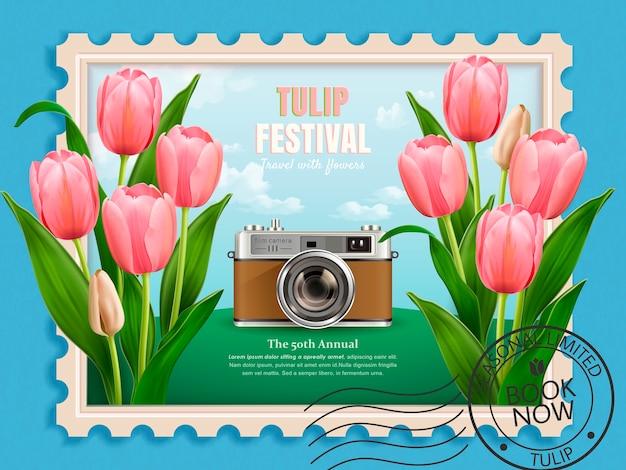 チューリップフェスティバル広告、旅行代理店の旅行コンセプト広告、イラストのウェブサイト、エレガントなフラワーシーズンツアースタンプ、チューリップとカメラ