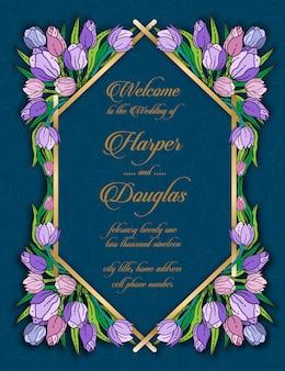 Tulip floral wedding card template