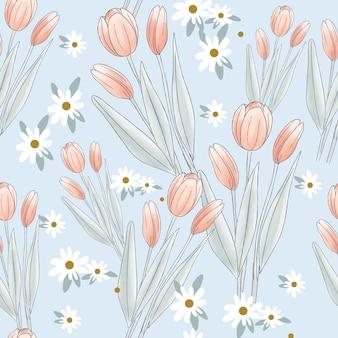 チューリップの花と枝のシームレスパターン