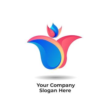 비즈니스 회사에 대한 튤립 꽃 그라데이션 로고