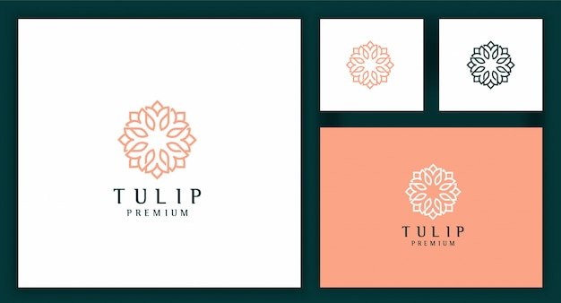 Tulip flower logo template in abstract linear style