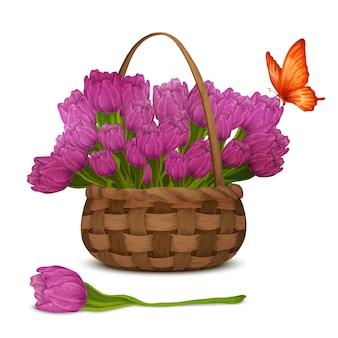 Tulip flowers in basket