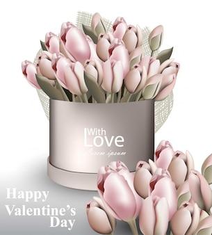 Tulip flowers bouquet box valentine day card